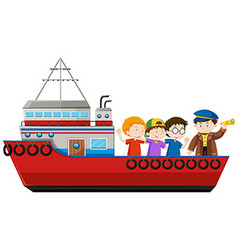 Captain and passengers on the ship vector