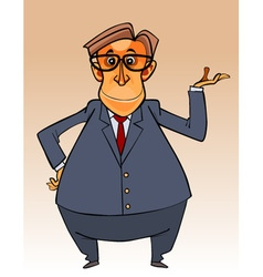 cartoon character big bellied man in a suit vector image vector image