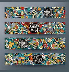 cartoon hand drawn doodles sport banners vector image