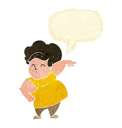 Cartoon happy overweight lady with speech bubble vector