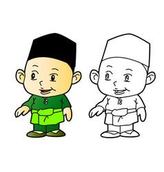 coloring melayu muslim boy - vector image vector image