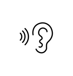 ear and sound wave black icon on white background vector image vector image