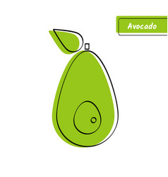 Flat green avocado market logo with black contour vector