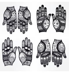 Hands with henna tattoos set vector image