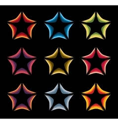 Isolated abstract colorful stars contour logo set vector image