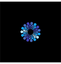 Isolated blue flower logo Round shape vector image vector image