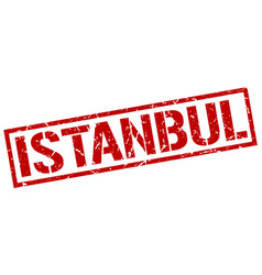 Istanbul red square stamp vector
