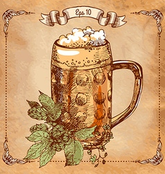 mug of beer hand-drawing vector image vector image