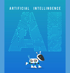 Robot and high tech artificial intelligence on vector