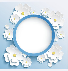 Round frame with 3d sakura invitation or greeting vector