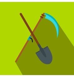 Scythe and shovel flat icon vector