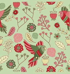 seamless pattern floral bird green red vector image vector image