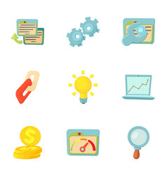 seo optimization icons set cartoon style vector image vector image