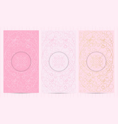 Set of flyers in pink color with logo collection vector
