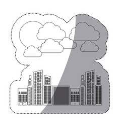 silhouette builds with cloud and sun icon vector image