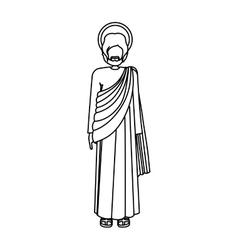Silhouette standign saint josepf father vector