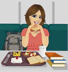 Student having lunch in fast food restaurant vector