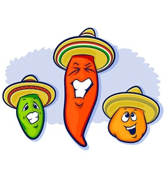 Three peppers wearing sobreros vector
