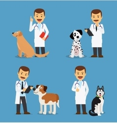 Veterinarian doctor with dogs vector