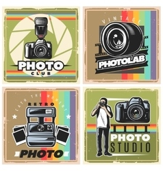 Vintage photographer posters composition vector