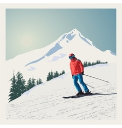 winter poster background Advanced skier vector image vector image