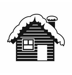 Wooden house covered with snow icon simple style vector image
