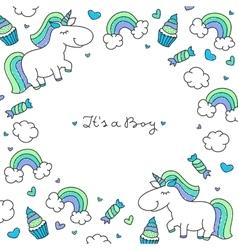 Unicorns and rainbows frame vector