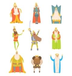Fairy-tale kings set of cartoon fun vector