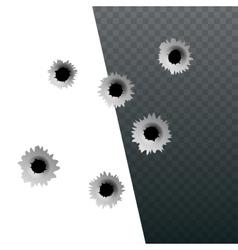 Isometric shot gun bullets and bullet holes vector