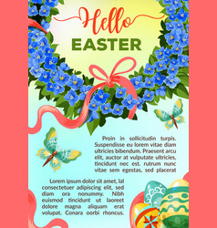 Eeaster holiday flower poster template vector