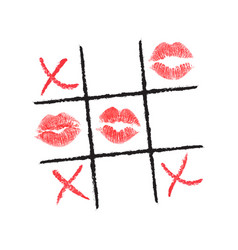 tic tac toe hand drawn with lipstick and eyeliner vector image