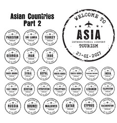 Old stampst with the name of the asian countries vector