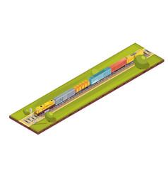 railroad haul isometric composition vector image
