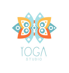 yoga studio logo symbol health and beauty care vector image