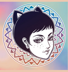 Anime or retro manga style woman with cat ears vector