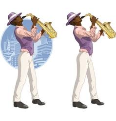 Afroamerican musician cartoon character vector image