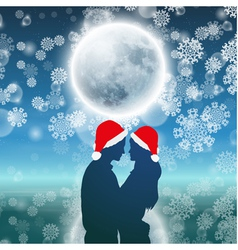 Couple over christmas background with moon vector