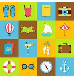 Flat summer objects set vector