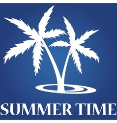 Summer icon on blue background- palm summer time vector