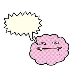 Cartoon pink fluffy vampire cloud with speech vector