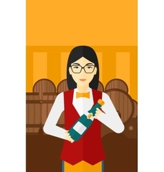Waitress holding bottle of wine vector