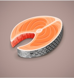 Salmon steak of red fish for sushi vector