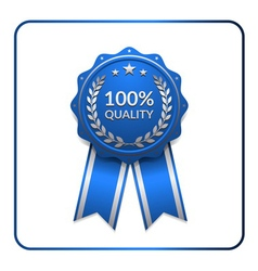 Ribbon award icon blue 3 vector