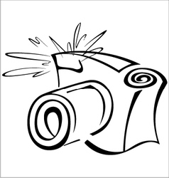 Black and white contour photo camera vector