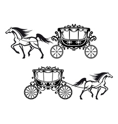 Antique decorated carriages with horses vector image
