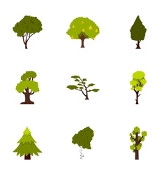 Arboreal plant icons set flat style vector