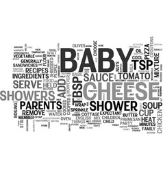 baby shower recipes text word cloud concept vector image vector image