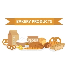 Bakery products still-life flat style set of vector