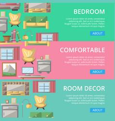 bedroom modern decor poster set vector image vector image