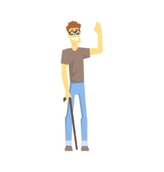 Blind guy with walking stick young person with vector